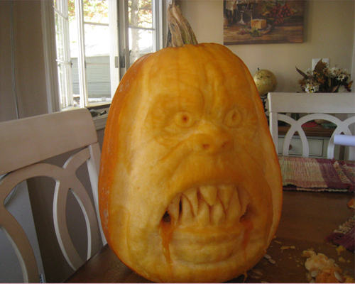 Pumpkin carving with 3-D scary face and teeth