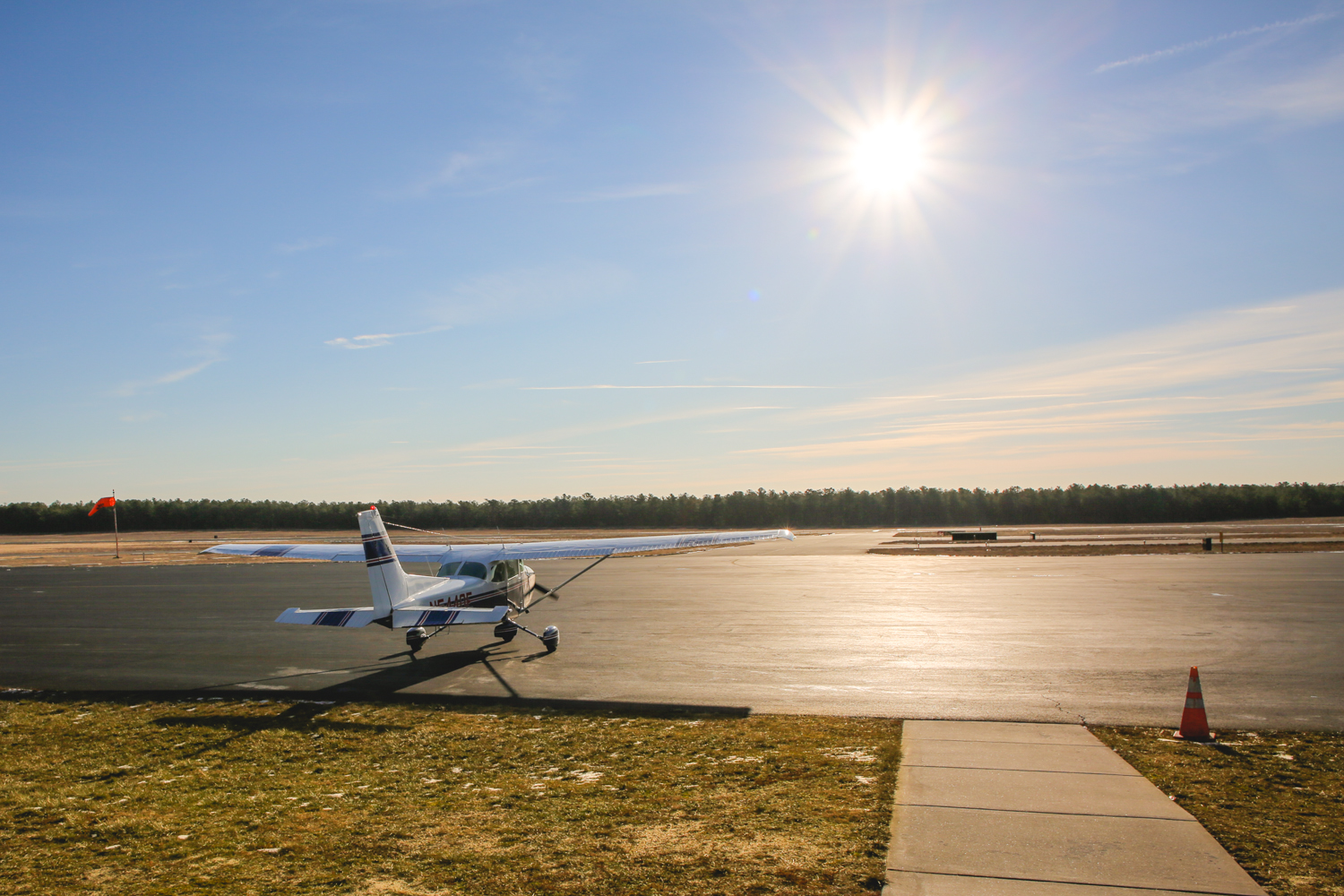 Small plane facing the sun at Miller Air Park in Ocean County, New Jersey