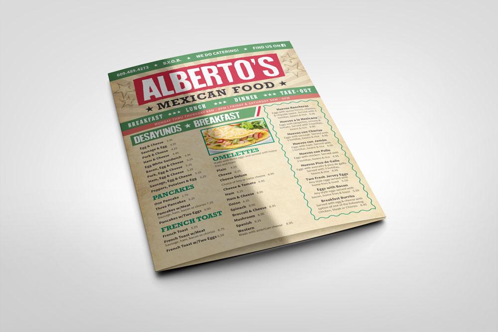 albertos deli mexican restaurant mexican food menu mockup
