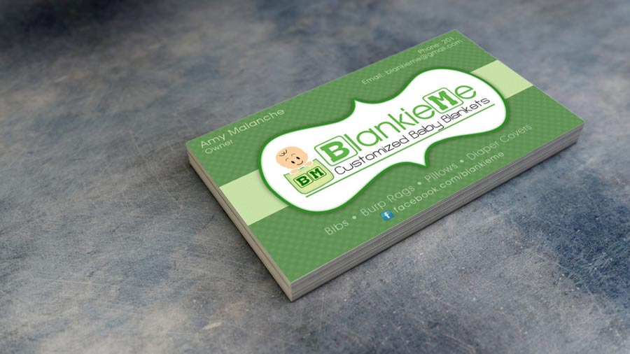 blankie me baby blanket business cards tortuga digital marketing design