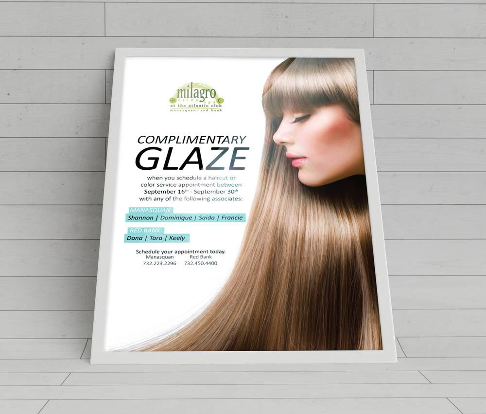 Hair Glaze At Milagro Spa Advertisement Design Tortuga Digital