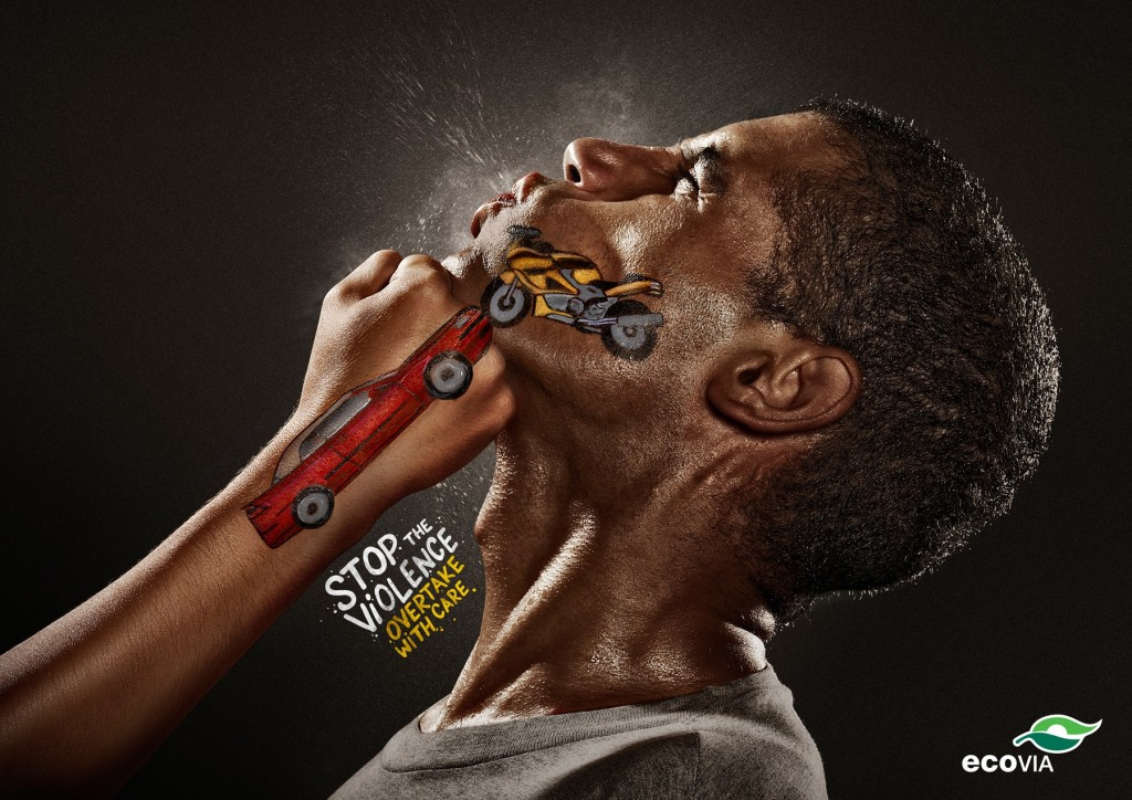 Drive safe ads. Stop the violence. Overtake with care.