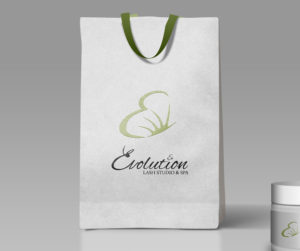evolution lash studio and spa logo giftbag mockup