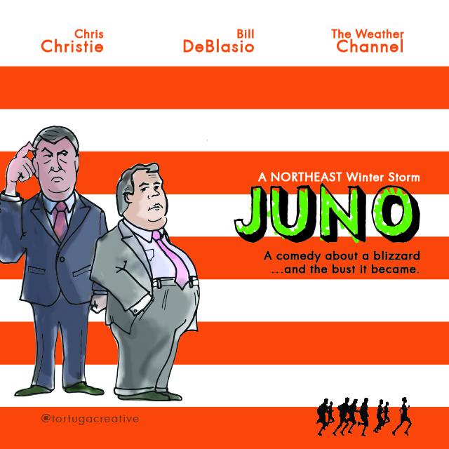 Christie, DeBlasio Appear in Juno Blizzard Cartoon