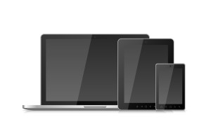 Laptop Smartphone Mobile and Tablet PC with Blank Screen isolated on white background