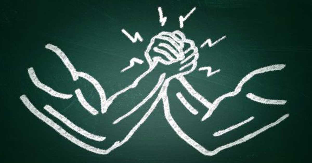 seo campaign arm wrestling chalkboard