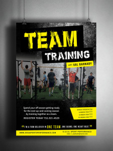 Training Poster for Team Training class. Black print, yellow and white industrial fonts.