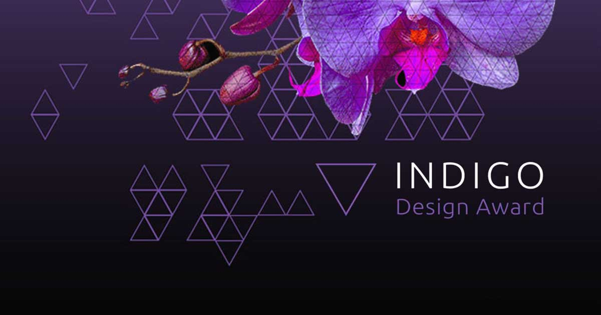 indigo design award purple orchid black background