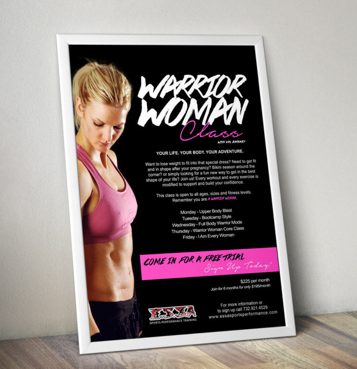 Woman workout poster, black print, lipstick font, fit blonde in pink top and is marketed towards women.