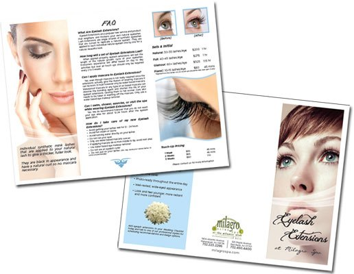 Eyelash Brochure for Milagro Spa | Graphic Design