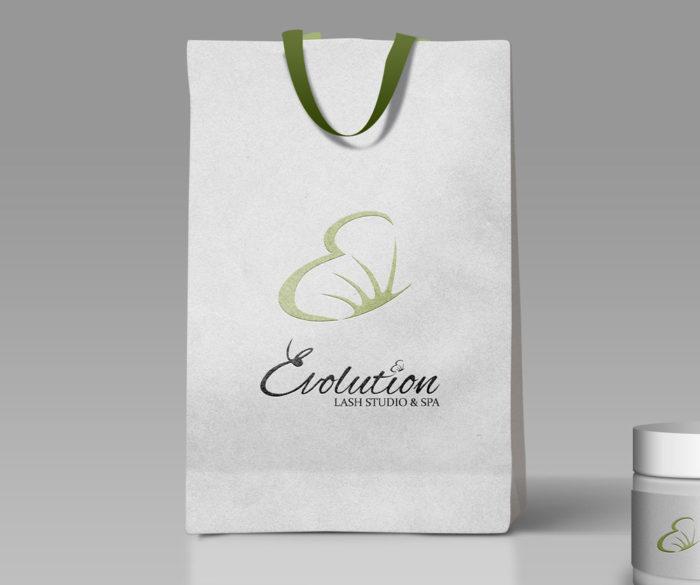 evolution lash studio and spa logo giftbag mockup