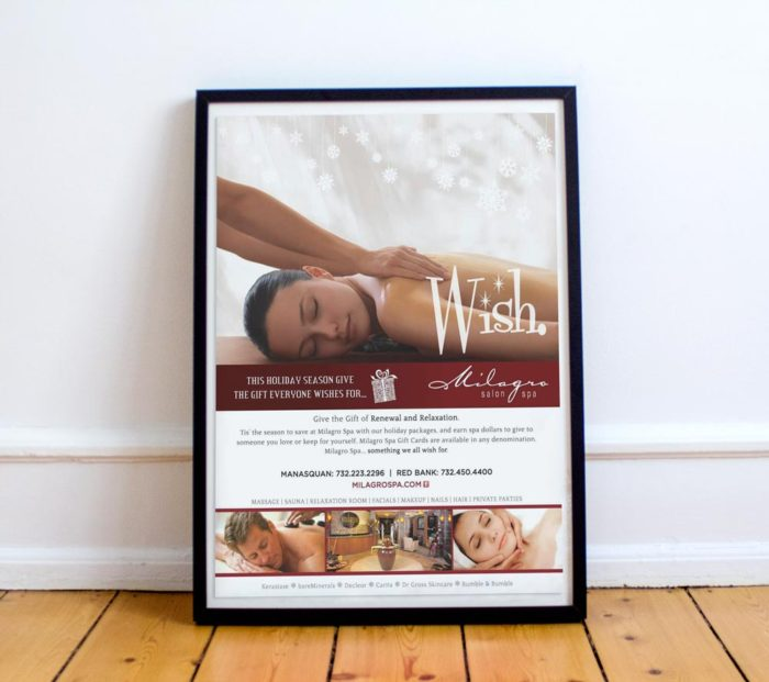 holiday gift package campaign poster for milagro spa